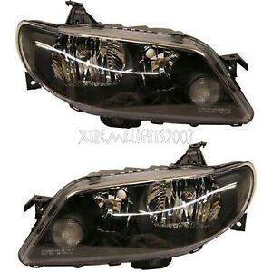 Mazda Protege 5 2002 2003 Black Headlights Head Lights Front Lamps Pair Set