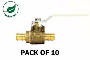 1 2 Pex Brass Shut Off Ball Valve Full Port Psi Non shock Wog Lead Free 10 Pack
