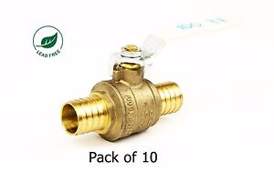 1 Pex Brass Shut Off Ball Valve Full Port Psi Non shock Wog Lead Free 10 Pack