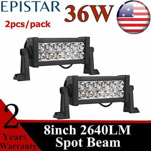 2pcs 36w 8 In Led Light Bar Fog Driving Spot Lamp For Ford Offroad Truck Jeep 7