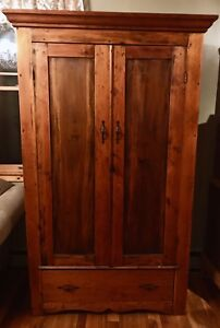 Early American Furniture Antique Primitive Pine Colonial Armoire Wardrobe 1795