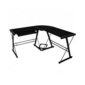 L Shaped Computer Desk Corner Table Lap Top Writing Home Office Furniture Black