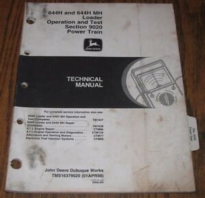 John Deere 644h Mh Wheel Loader Power Train Op Test Technical Service Manual