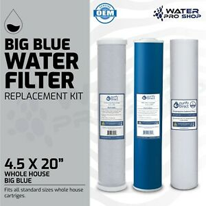 3 Stage Big Blue Water Filter Replacement Kit Sediment udf carbon 4 5 X 20
