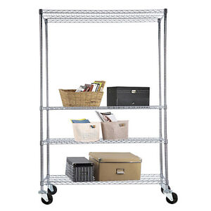 82 x48 x18 Adjustable Chrome 4 Tier Steel Wire Shelving Rack Shelf Heavy Duty