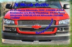 2006 02 06 Avalanche 03 05 2004 04 Chevy Silverado Stainless Steel X Mesh Grille