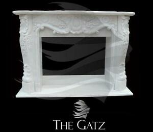French Provincial Designed Hand Carved Marble Fireplace Mantle