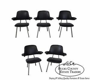 Mid Century Modern Set Of 5 Black Vinyl Metal Frame Arm Chairs