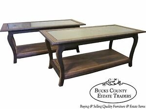 Pair Of Exotic Wood Art Deco Coffee Table W Smoked Mirror Tops