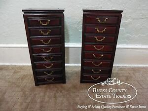 Quality Pair Of Oriental Chinese Rosewood Table Top Jewelry Chests