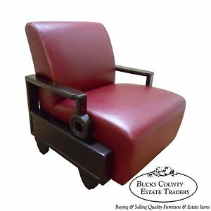 Mid Century Oriental Style Rosewood Leather Living Room Lounge Chair