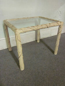Mid Century Modern Carved Tree Formed End Table W Glasstop