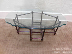 Solid Mahogany Faux Bamboo Glass Top Coffee Table