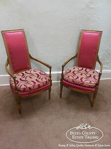 Pair Of French Louis Xvi Directoire Style High Back Host Open Arm Chairs B