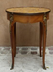 Magnificent 19c French Round Center Table Side Table Bronze Marble Top Table