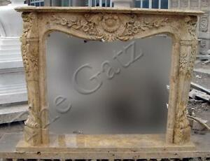 French Design Marble Fireplace Mantel Old World Finish