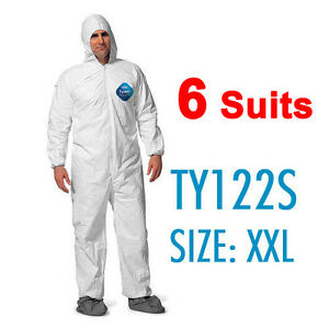 6 Suites Dupont Tyvek Coverall Bunny Suite With Hood And Boots Ty122s 2xl
