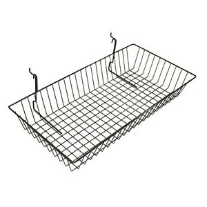 New Case Of 6 Slatwall Or Grid Baskets 24 x12 x4 Black