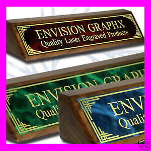 Personalized Custom Walnut Desk Name Plate Design Gift choose A Color Plate