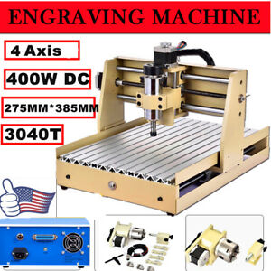 Usa 4 Axis Cnc Router Engraver Engraving Drilling Milling Machine 3d 3040 400w