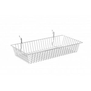 New Case Of 6 Slatwall Or Grid Baskets 24 x12 x4 White