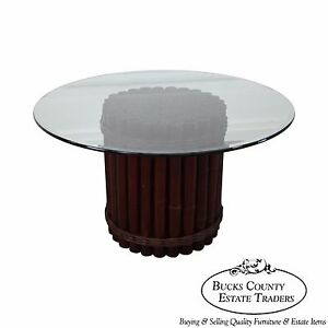 Round Glass Top Bamboo Base Dining Table