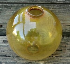 Old Amber Glass Lightning Rod Ball Home Roof Garden Cabin Shop Store Decor