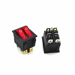 2pcs Rocker Switch Red Double Spst On off 6 Pin 15a 250vac 20a 125vac Kcd4