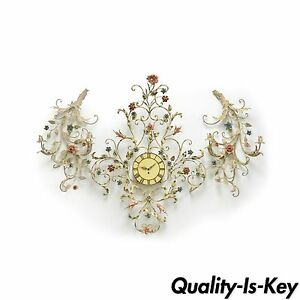 Vintage 3 Piece Wall Clock Sconce Set Floral Shabby Tole French Country Chic