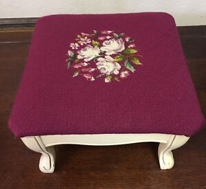 Needlepoint Wood Foot Stool Ottoman Handmade Antique Vintage Shabby Chic 15x15x9