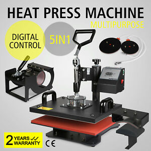 Heat Press Transfer Digital Clamshell 15 X 12 T shirt Sublimation Machine 5in1