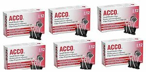 Acco Binder Clips Small 12 Count Black Powerful Grip Triangular New Acc72020