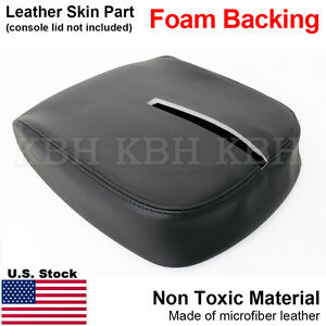 Leather Armrest Console Lid Cover Fits 07 13 Tahoe Suburban Yukon Sierra Black S