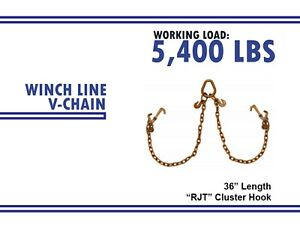 Chain V Bridle W Rjt Hook Tow Truck Winch Cable Pull Wrecker Recovery Grab