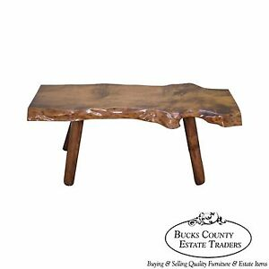Rustic Slab Wood Coffee Table Bench