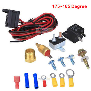 175 185 Electric Engine Fan Thermostat Temperature Relay Switch Sensor Kit 3 8