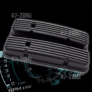 Aluminum Chevy Sb 283 305 327 350 400 Short Valve Covers Finned Polished Black