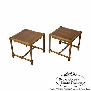 Tommi Parzinger Pair Of Stools Reverse Top Low Tables