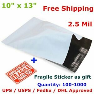100 1000 10x13 Poly Mailers Shipping Envelopes Self Sealing Plastic Bags 2 5 Mil
