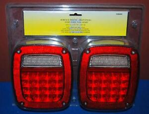 Pair Led Surface Mount jeep Style Stop Turn Tail Lights Universal 58405 ss2