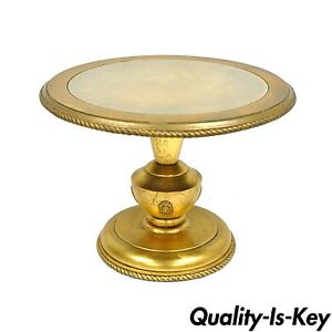 Vintage Hollywood Regency French Style Gold Gilt Wood Urn Side Accent End Table