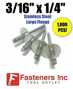 qty 1000 3 16 X 1 4 Grip All Stainless Steel Large Flange Pop Rivet 64lf
