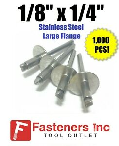 qty 1000 1 8 X 1 4 Grip All Stainless Steel Large Flange Pop Rivet 44lf