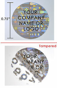 500 Hologram Round Security Labels Stickers Seals Custom Print Silver 3 4 Dia