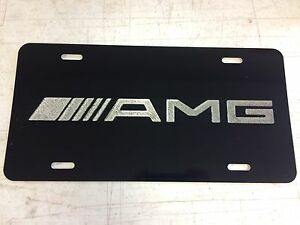 Amg Logo Car Tag Diamond Etched On Aluminum License Plate