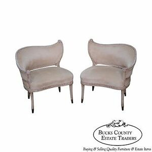 Vintage Pair Of Paint Frame Regency Style Fire Side Wing Chairs