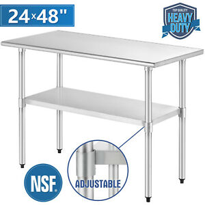 Commercial Prep Work Table 24 x48 Stainless Steel Food Kitchen Restaurant