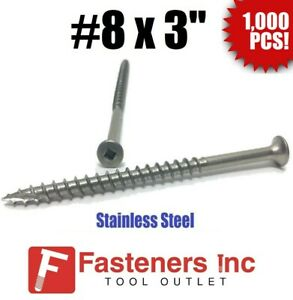 qty 1000 8 X 3 Stainless Steel Deck Screws Square Drive Wood Type 17