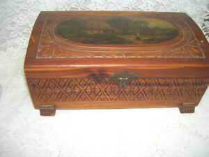 Antique Handtooled Table Top Wood Chest With Old World Scene On Lid