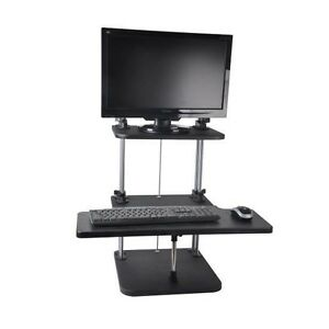 Universal Desktop Laptop Adjustable Desk Workstation Steel Alloy Sit Stand Black